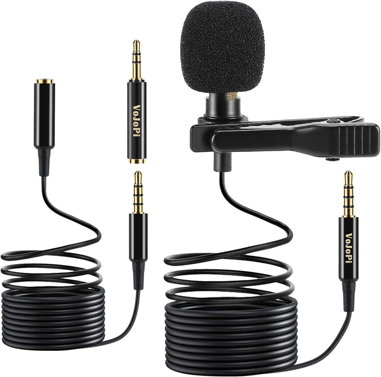 VoJoPi Microfono Solapa, Omnidireccional Lavalier Micrófono de Condensador con 2 m Audio Cable Extensión, Microfono Movil para Podcast/Grabación Entrevista/Videoconferencia/Dicción de Voz/Movil