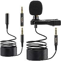 VoJoPi Microfono Solapa, Omnidireccional Lavalier Micrófono de Condensador