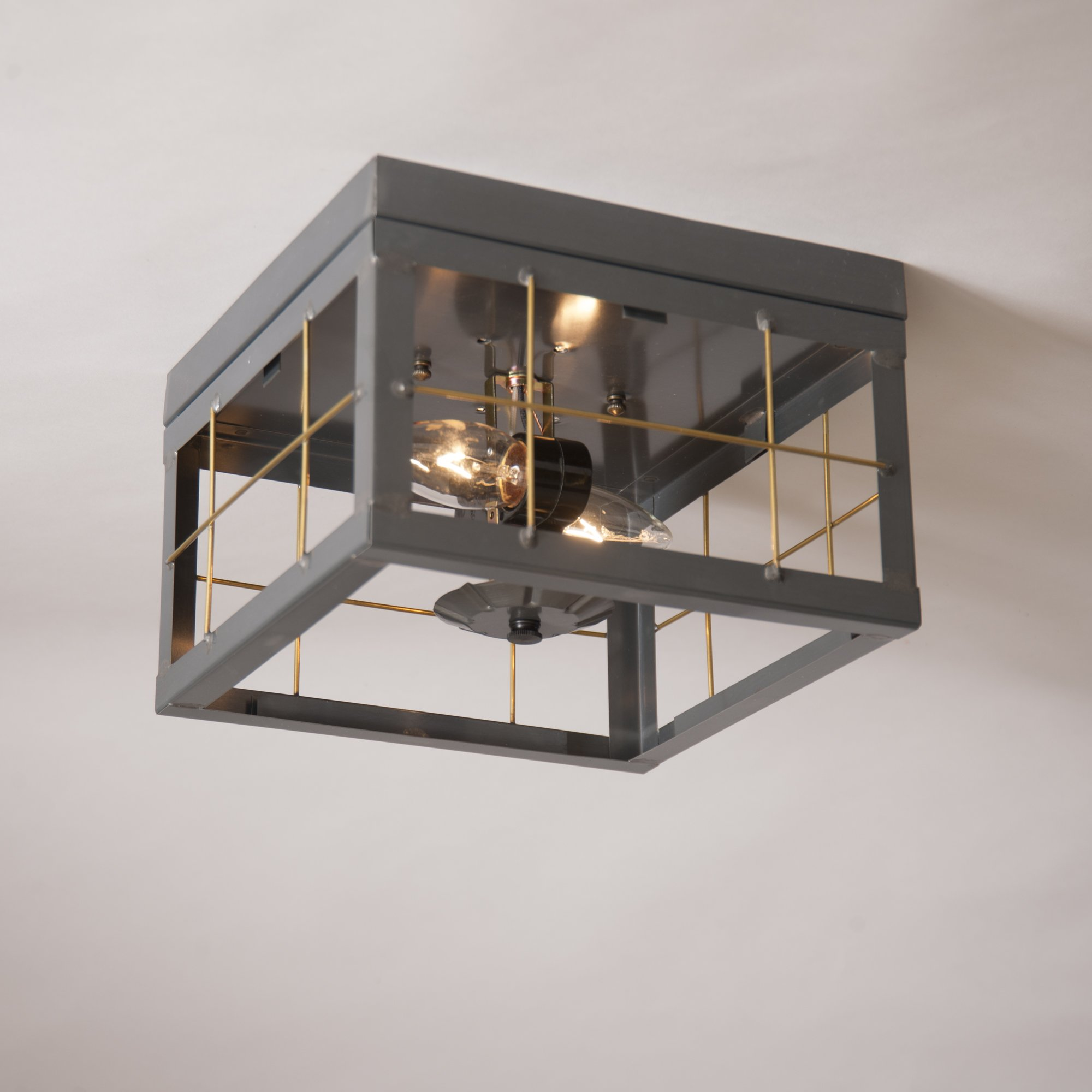 Double Ceiling Light with Brass Bars in Country Tn