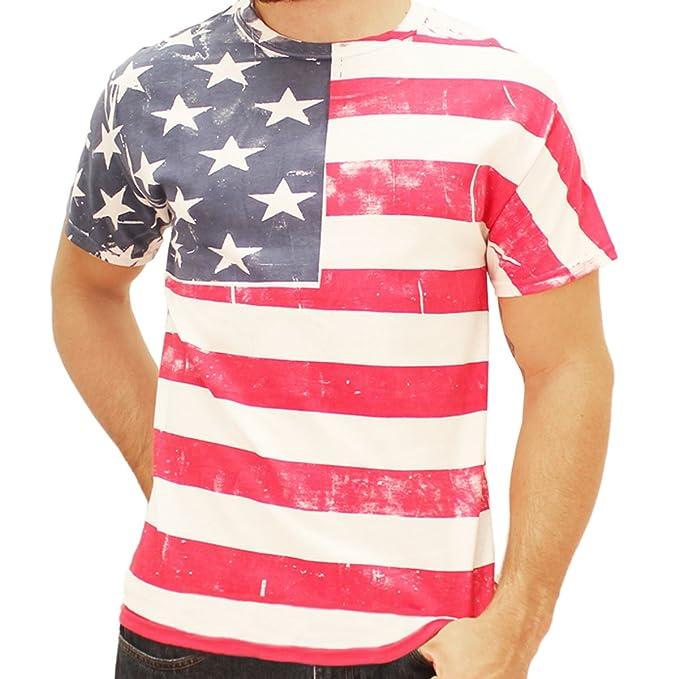 Pintado a mano bandera de American camiseta para hombre: Amazon.es: Ropa y accesorios