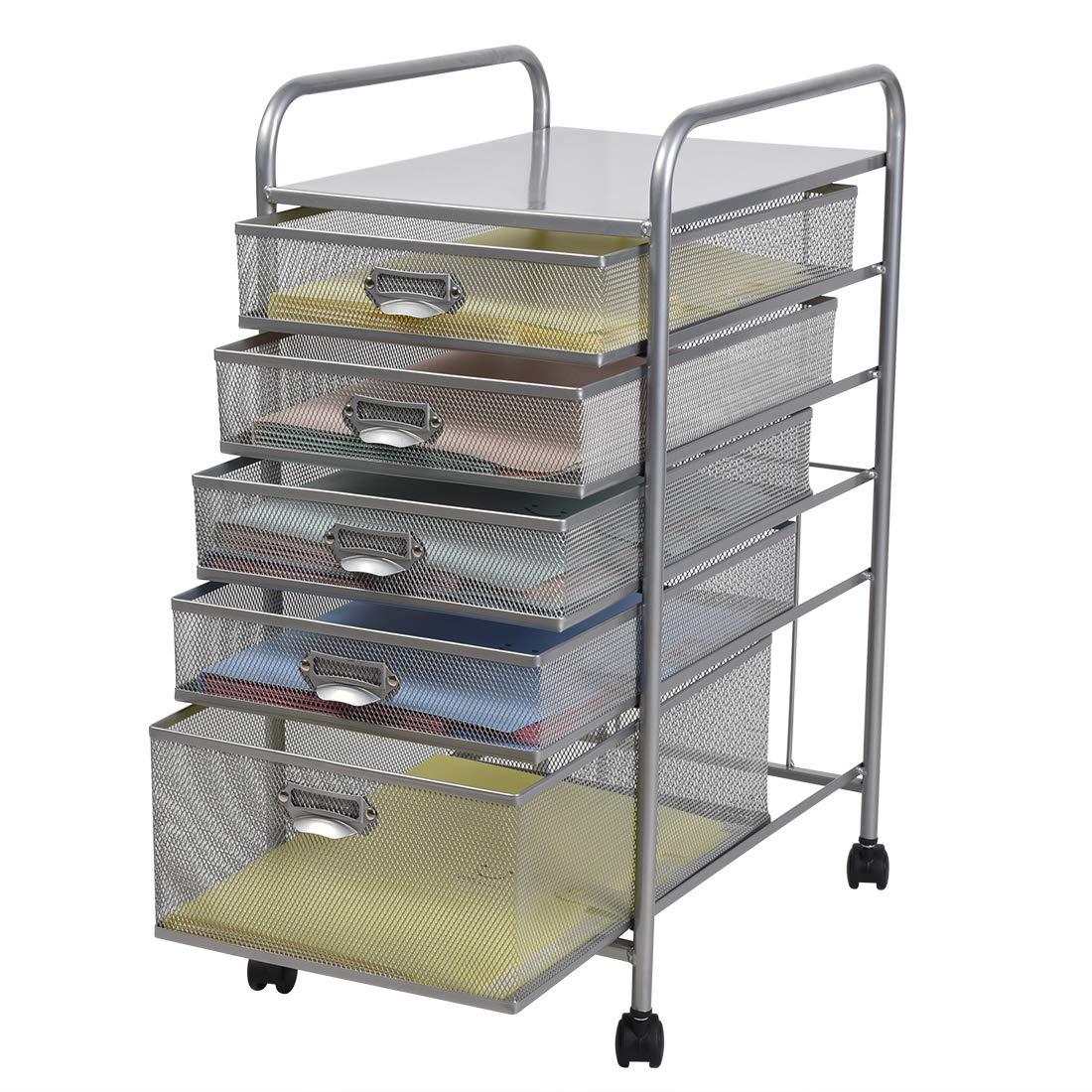 100% Metal Mesh 5 Drawer Rolling Cart Storage Organizer File Basket Cart Office&Home Cabinet-Silver