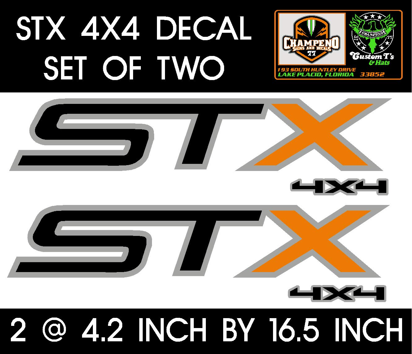 Decal Black and Orange F-350 F-250 6 to 8 Year Outdoor Life Set of Two Ford STX 4X4 Metallic Silver Graphic Sticker Truck Bed Side Decal F-150 Truck Fender Graphic.