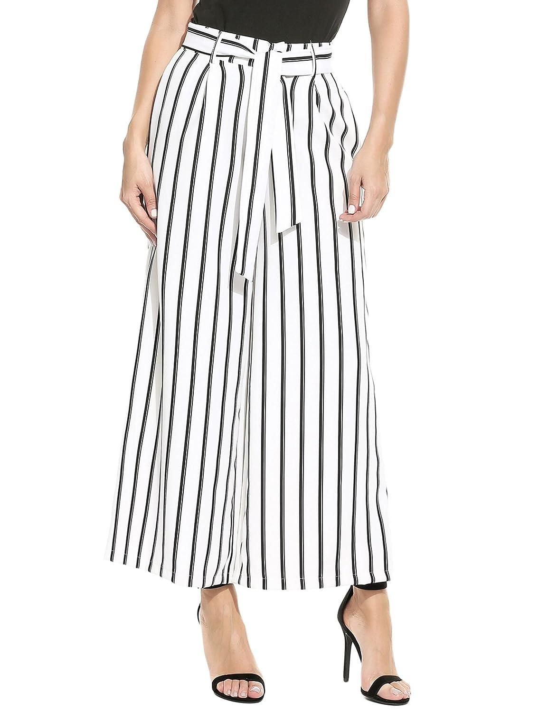 Vansop Women Striped Wide Leg High Waist Belted Vintage Loose Casual Palazzo Pants