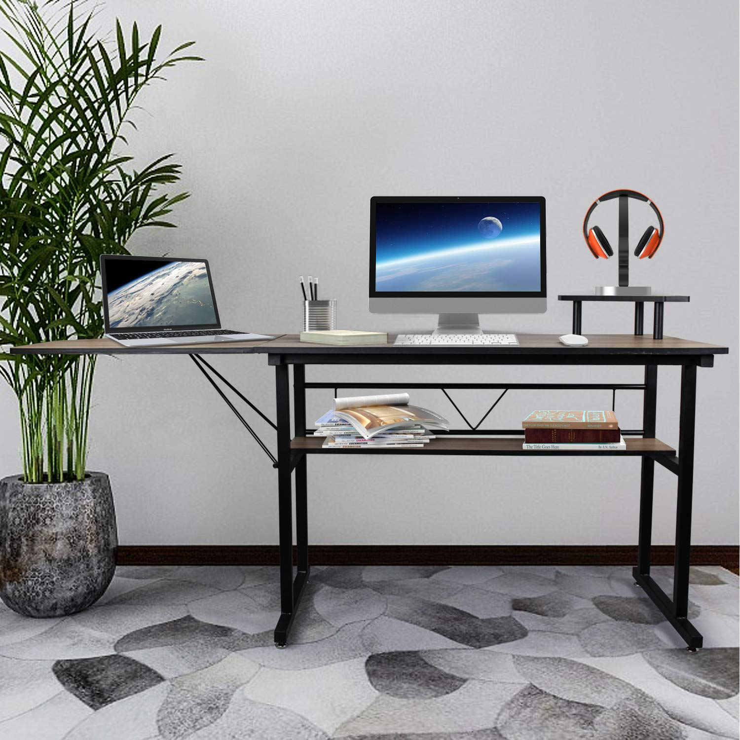 67 Large Computer Desk Writing Table, Study Writing Modern Table with Shelf Board, PC Laptop Office Desk, Multipurpose Workstation for Home and Office, Gaming Computer Desk