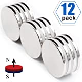 """Strong Neodymium Disc Magnets 50% Stronger Than N35 Rare Earth Magnets - 1.26""""D x 1/8""""H, Pack of 12"""