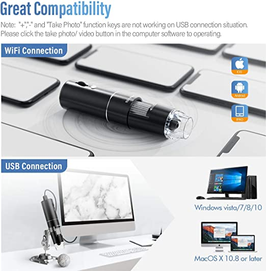 N \ A Wireless Digital Microscope Handheld iOS 9.0 Win//7//8//10 1080P Pixels 50-1000X Magnification Mini WiFi Microscope Camera with 8 LED Lights for Android 4.4 MacOS X 10.8 The Above