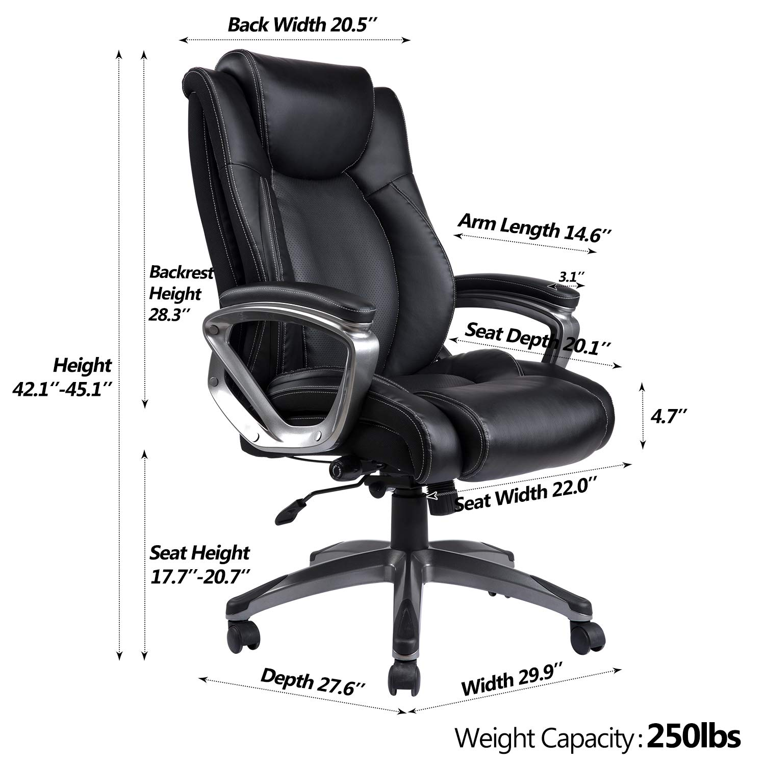 VANBOW Leather Memory Foam Office Chair - Adjustable Lumbar Support Knob and Tilt Angle High Back Executive Computer Desk Chair, Thick Padding for Comfort Ergonomic Design for Lumbar Support, Black by VANBOW (Image #5)