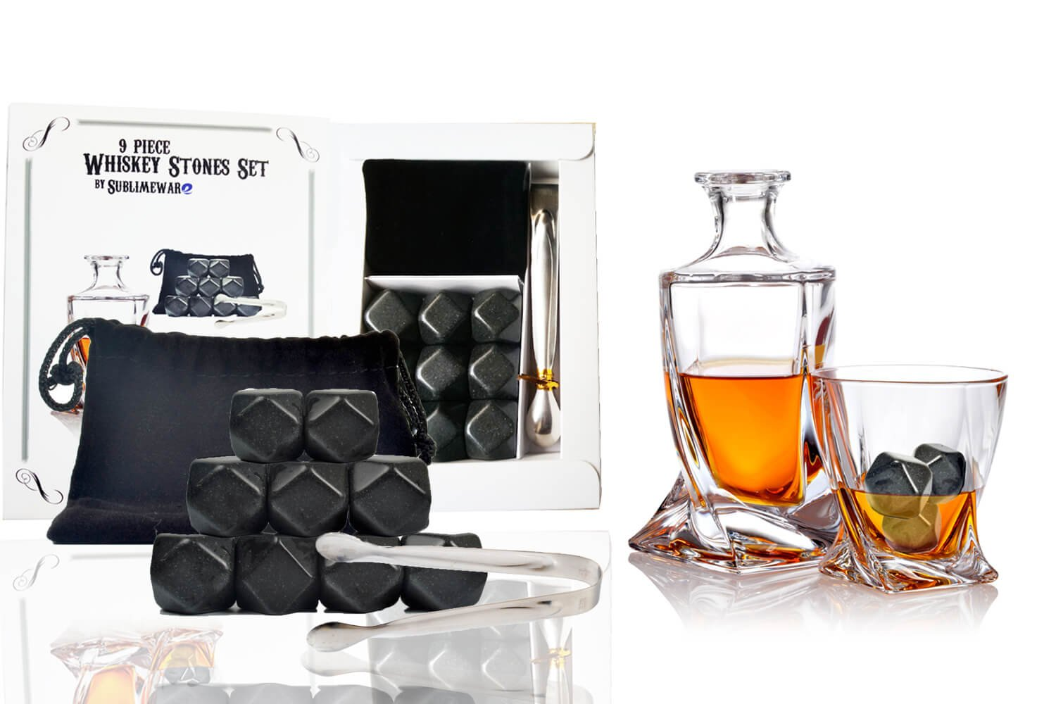 Whiskey rocks 9 pcs diamond shaped granite w/tongs - sipping bourbon alcohol wiskey wine chilling chilled reusable ice - doesn't melt dilute drinks - best whiskey stones set - by Sublimeware