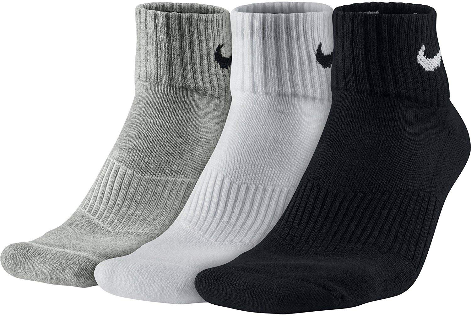 NIKE Unisex Performance Cushion Quarter Training Socks (3 Pairs), Black/White/Grey, Large
