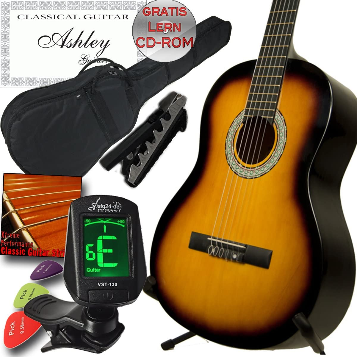 Ashley zurdos clásica Guitarra Sunburst con Juego, funda, afinador ...