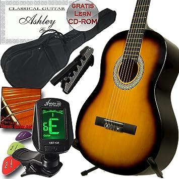 Ashley zurdos clásica Guitarra Sunburst con Juego, funda, afinador,, Cejilla, cuerdas, 3 púas y aprendizaje de CDROM: Amazon.es: Instrumentos musicales