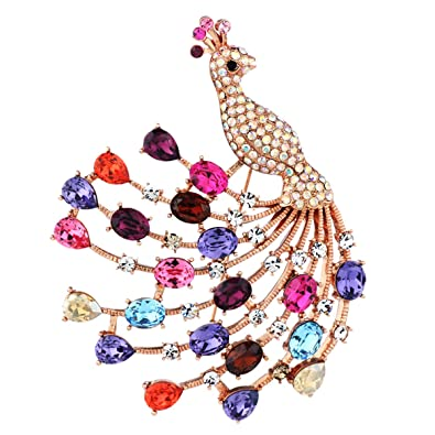 Neoglory Rhinestone Alloy Fashion Blue Peacock Brooches & Pins