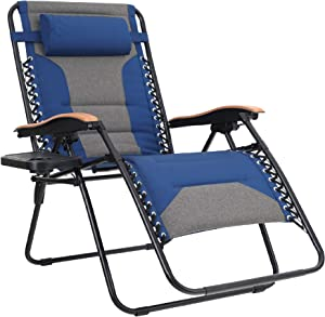 MFSTUDIO Oversized Zero Gravity Chair XL Patio Recliners Padded Folding Chair with Cup Holder, Extra Wide Chaise Lounge for Outdoor Yard Poolside, Navy Blue