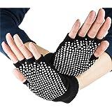 Crown Sporting Goods Fingerless Yoga Gloves with Slip-Free Texturizing Beads, Black
