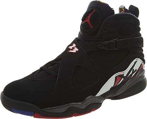 Nike Mens Air Jordan 8 Retro Playoff Black/Varsity Red Leather Basketball Shoes Size 8