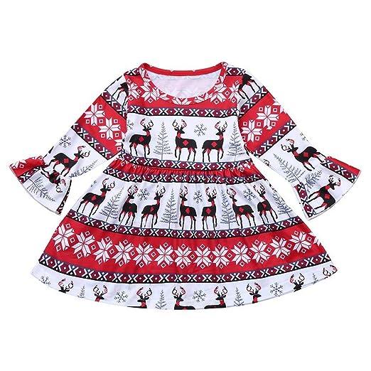 6441555d4 Christmas Girl Dress,Fineser Cute Toddler Infant Baby Girls Christmas Xmas  Dresses Outfits Cartoon Deers