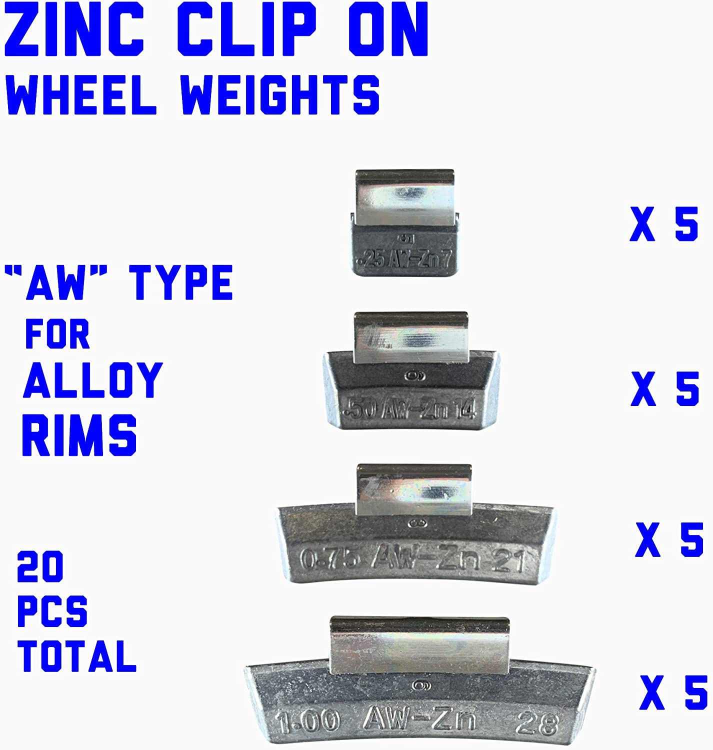 15 g 20 g FN Type for Alloy Rims in Japanese Cars. 25 g Gallardo Tire Products 100 Pieces assortments ZINC Clip ON Wheel Weights 10 g 25 Each