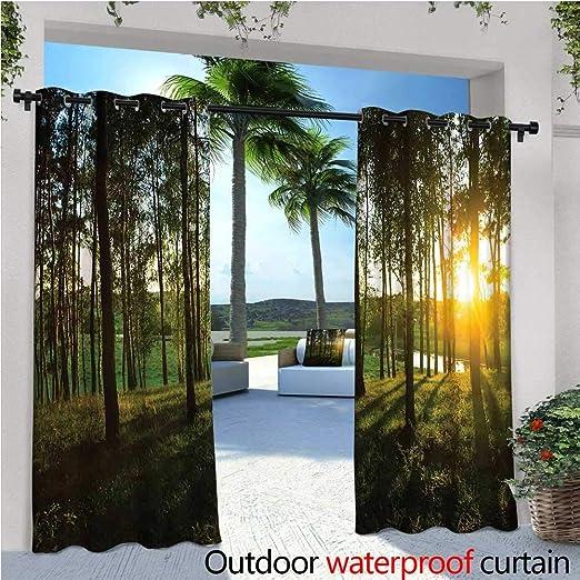 cobeDecor - Cortinas Opacas para Exteriores, diseño de árbol y Hojas en la Parte Superior, Color Verde: Amazon.es: Jardín