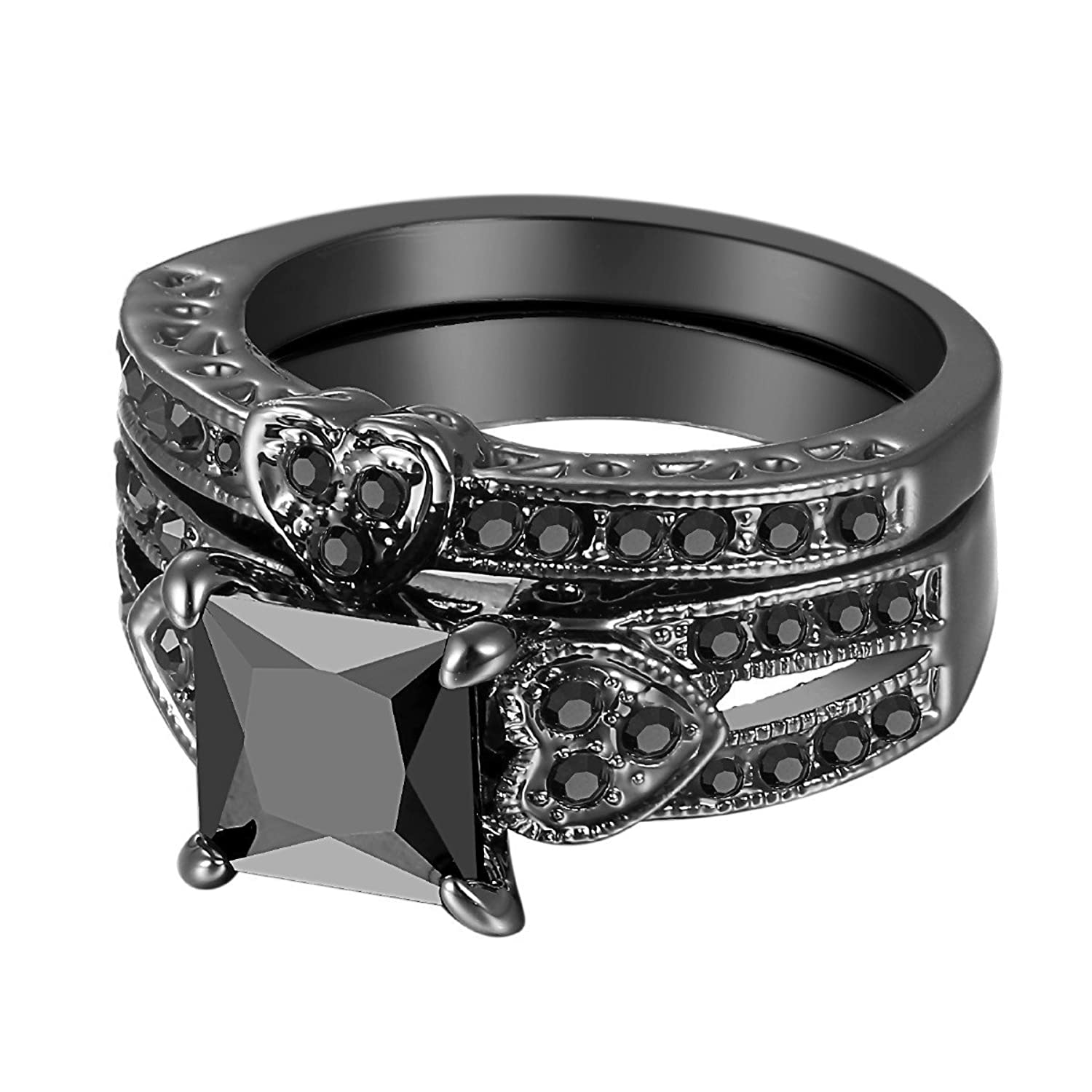 14K Black Gold Heart Shaped Black Square Diamond Princess Cut