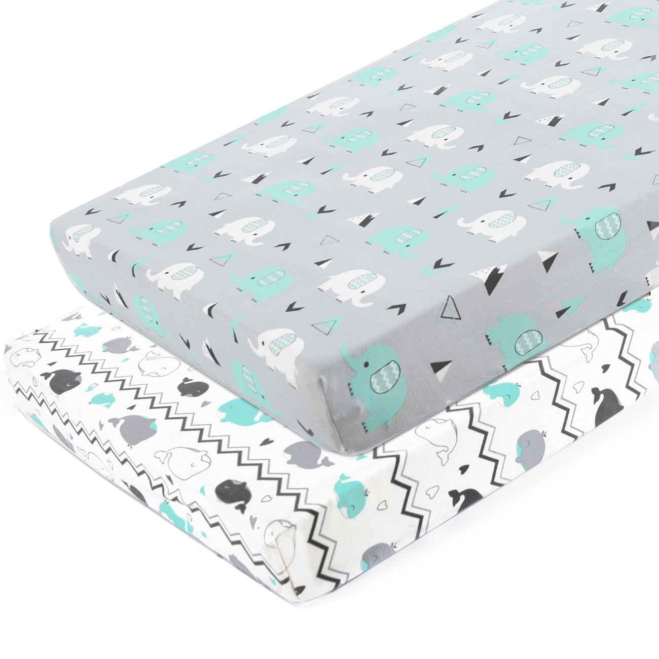 Pack n Play Stretchy Fitted Pack n Play Playard Sheet Set-Brolex 2 Pack Portable Mini Crib Sheets,Convertible Playard Mattress Cover,Ultra Soft Material,Elephant & Whale by BROLEX