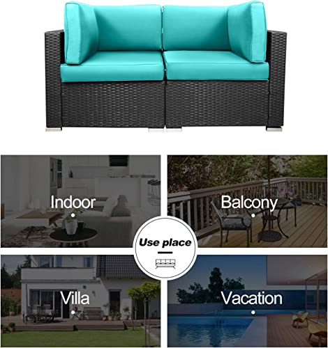 EXCITED WORK Loveseats Patio Sectional Corner Sofa All Weather Wicker Rattan Outdoor Thick Couch Set Tiffany Blue