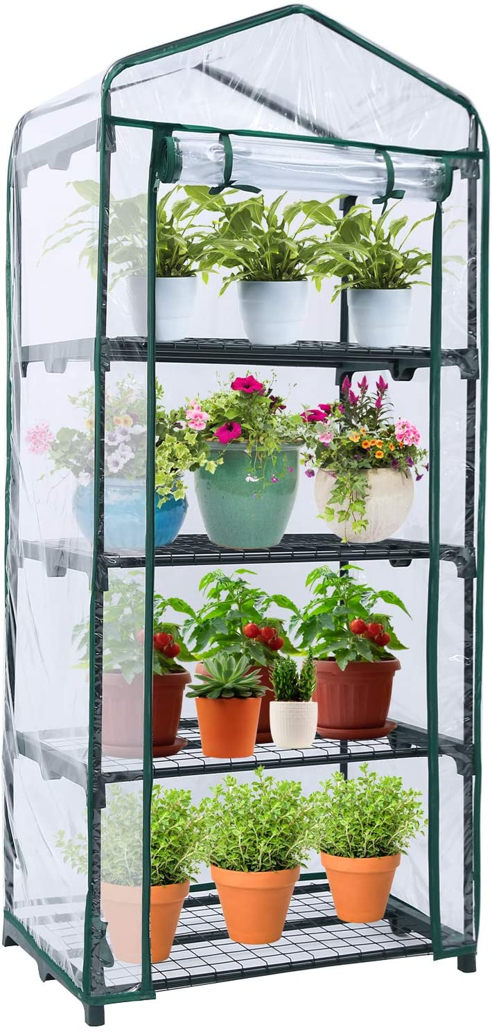 Mini Greenhouse for Indoor Outdoors, Ohuhu Small Plant Greenhouses with 4-Tier Shelf, Portable Green House with Improved Transparent PVC Cove, Warm House for Garden/Patio/Backyard, 1.5 x 2.25 x 5.3 FT