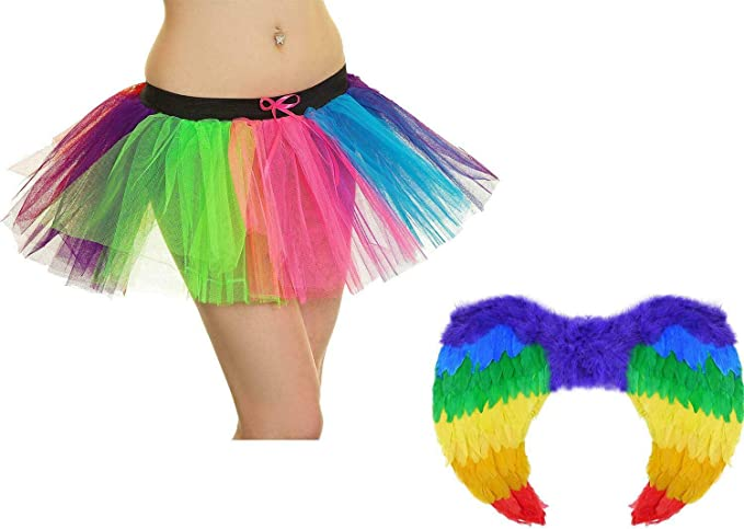 Juego de falda tutú de 3 capas con alas de ángel arcoíris para ...