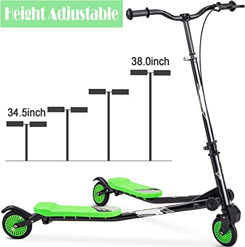 Rampmu Y Flicker Scooter, Wiggle Scooter for Kids, 3 Wheels Push Swing Scooter Foldable Speeder Tri Slider Kickboard for Age 3 US Stock