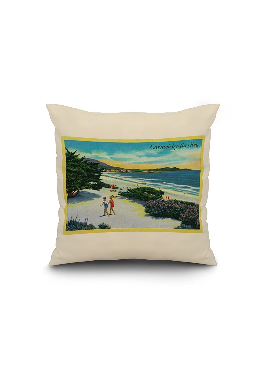 Amazon.com: Carmel-by-the-Sea, California - View of the Beach (16x16 Spun Polyester Pillow, White Border): Wall Art