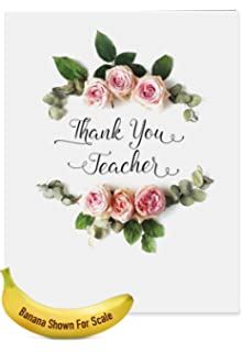 Amazon jumbo thank you greeting card big thank you to a j4175attg jumbo teacher thank you greeting card elegant flowers featuring script sentiment surrounded by beautiful m4hsunfo