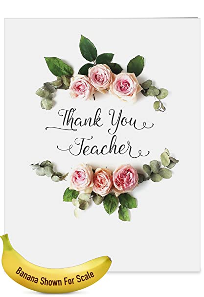 Amazon j4175attg jumbo teacher thank you greeting card j4175attg jumbo teacher thank you greeting card elegant flowers featuring script sentiment surrounded by beautiful m4hsunfo