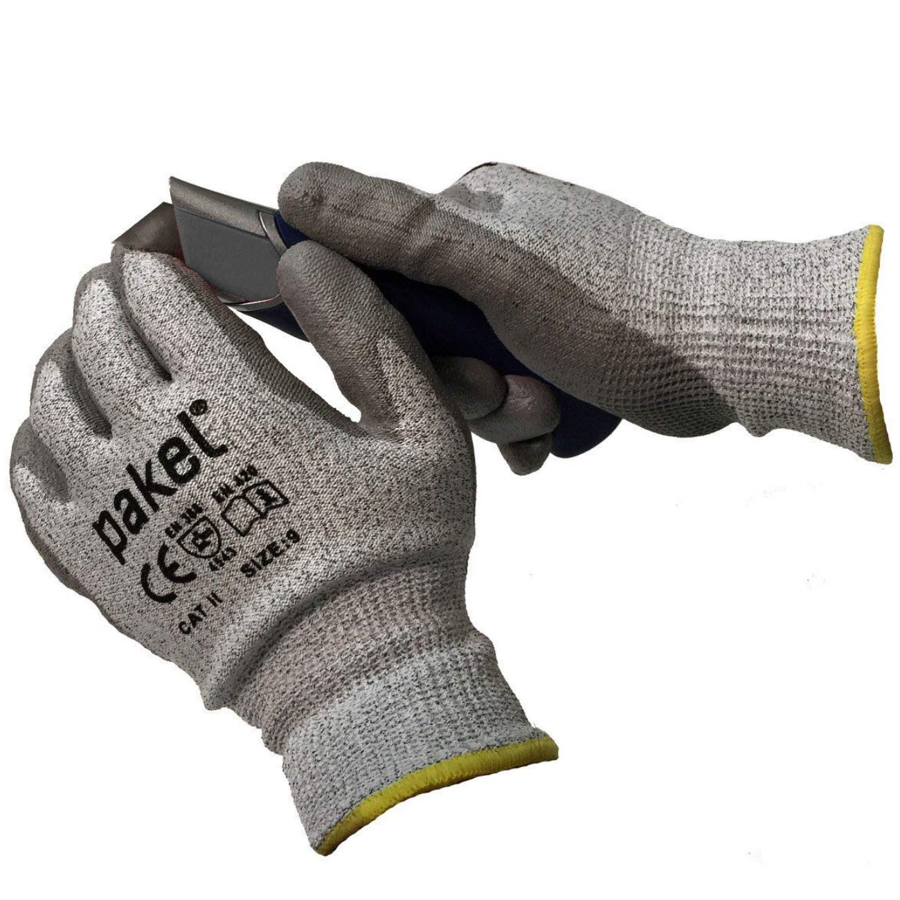 Pakel High Performance En388 CE Level 5 Cut Resistant Knit Wrist Gloves (Size 9 / Large / 10 Pairs)