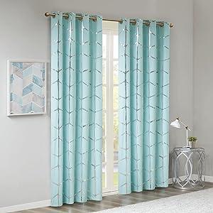 "Intelligent Design Raina Window Panel 50"" x 84"" Aqua/Silver"