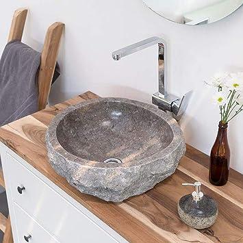 Wohnfreuden Marmor Waschbecken 50 Cm Groß Rund Grau Naturstein