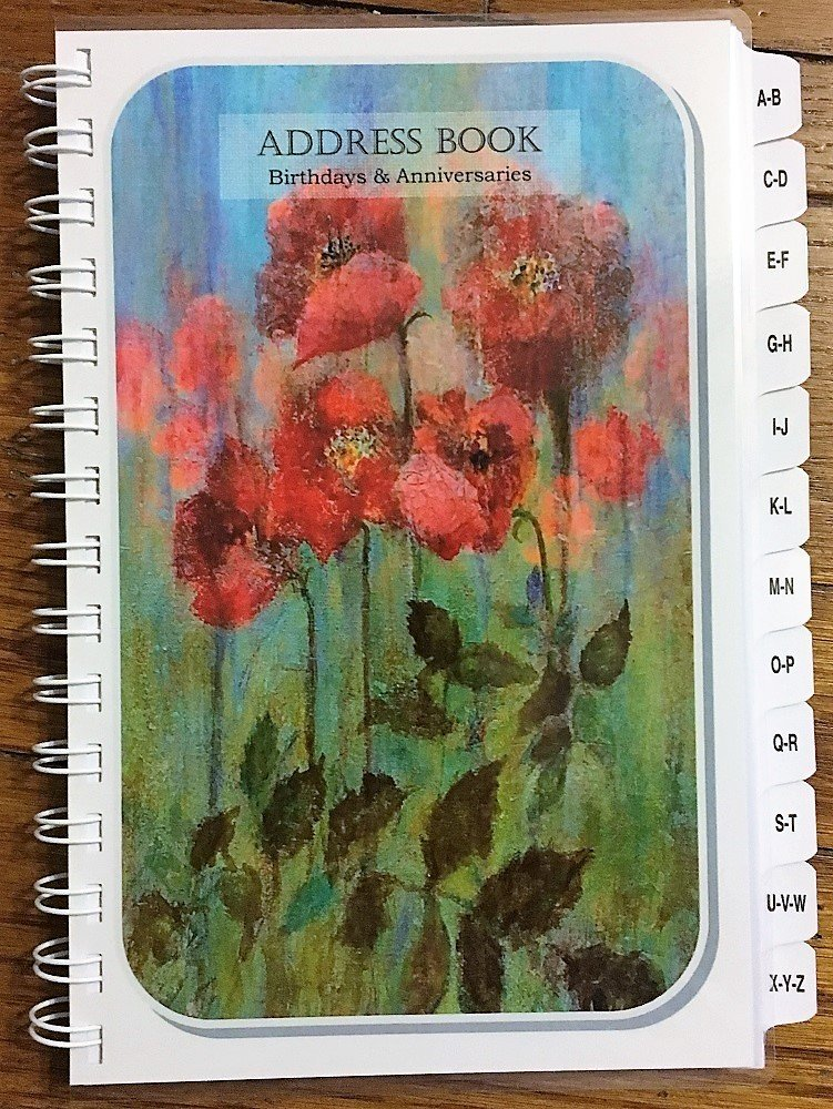 LARGE PRINT Address Book with A-Z Tabs Birthday Anniversary Calendar Family Record Keeper Poppies Personalized Gifts