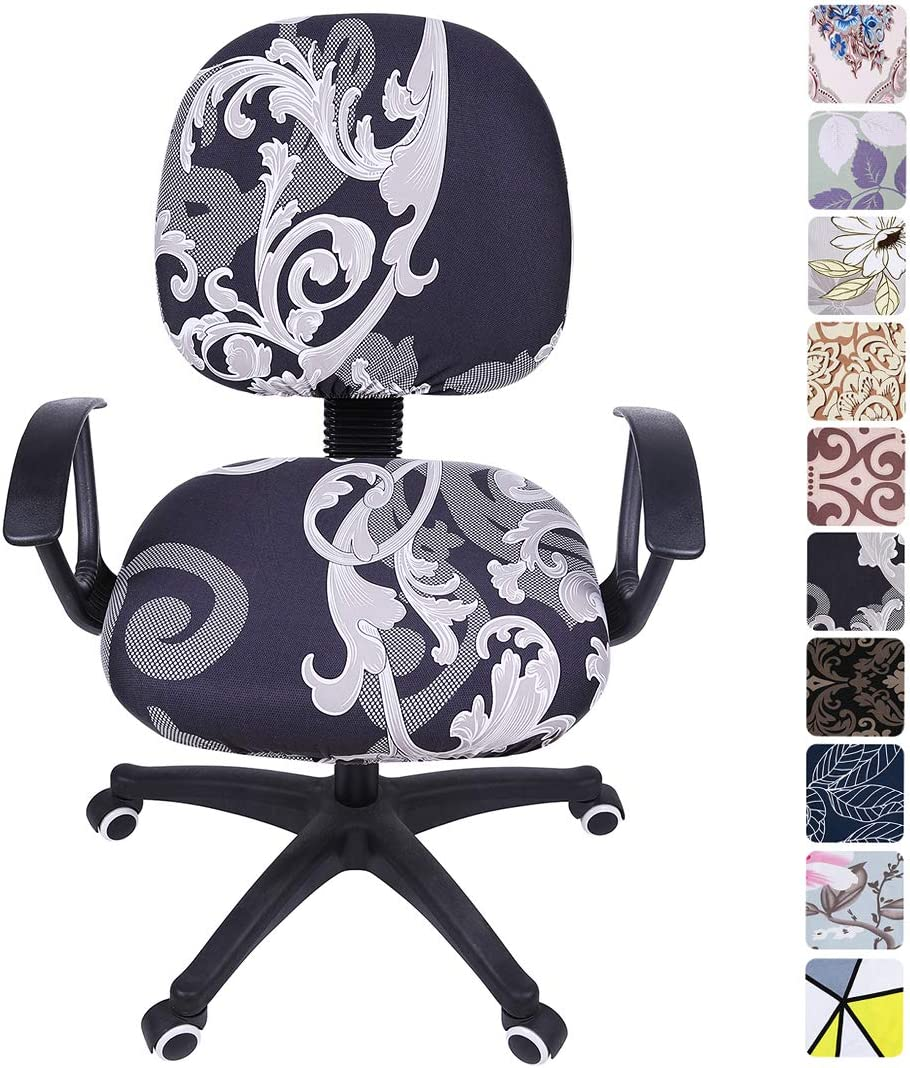 smiry Stretch Print Computer Office Chair Cover, Removable Washable Universal Desk Rotating Chair Slipcover, Black Floral