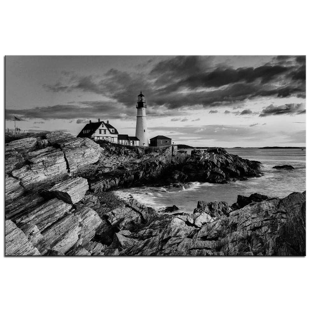 Biuteawal black and white lighthouse wall art portland head light picture canvas prints coast seascape photo paintings nature modern artwork for
