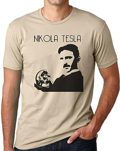 OM3 - NIKOLA TESLA - T-Shirt PHYSICS POWER NERD ELEKTRIC GEEK ENERGIE EMO, M, khaki