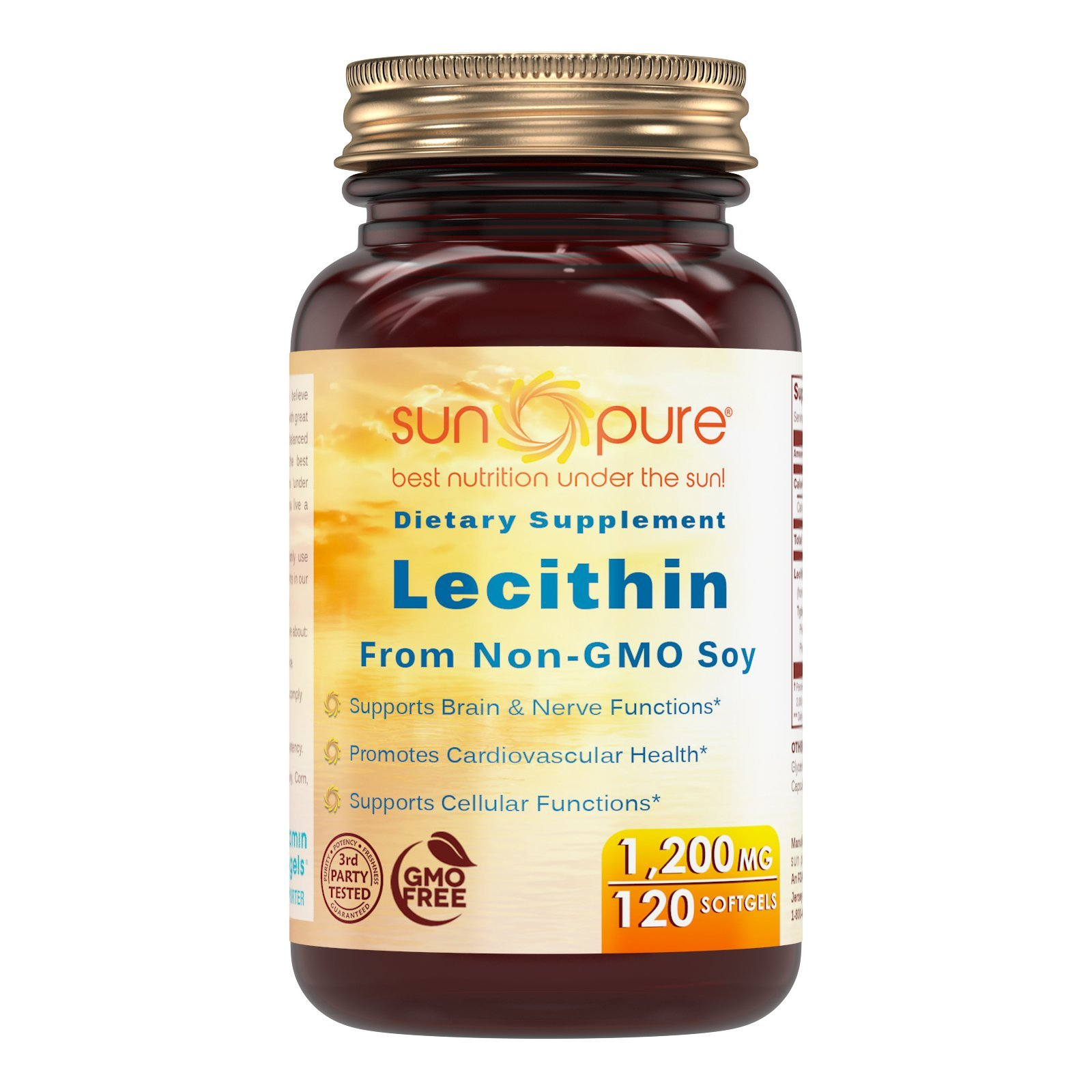 Sun Pure Lecithin Dietary Supplement * 1200 mg High Potency Lecithin Softgels * Promotes Brain & Cardiovascular Health * Aids in Cellular Activities * 120 Softgels by Sun Pure