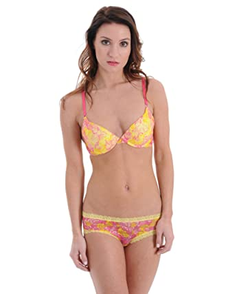 Juniors Lace Push Up Bra and Panty 2 Piece Set in Yellow Pink Lace Floral  Print cf90b3a39