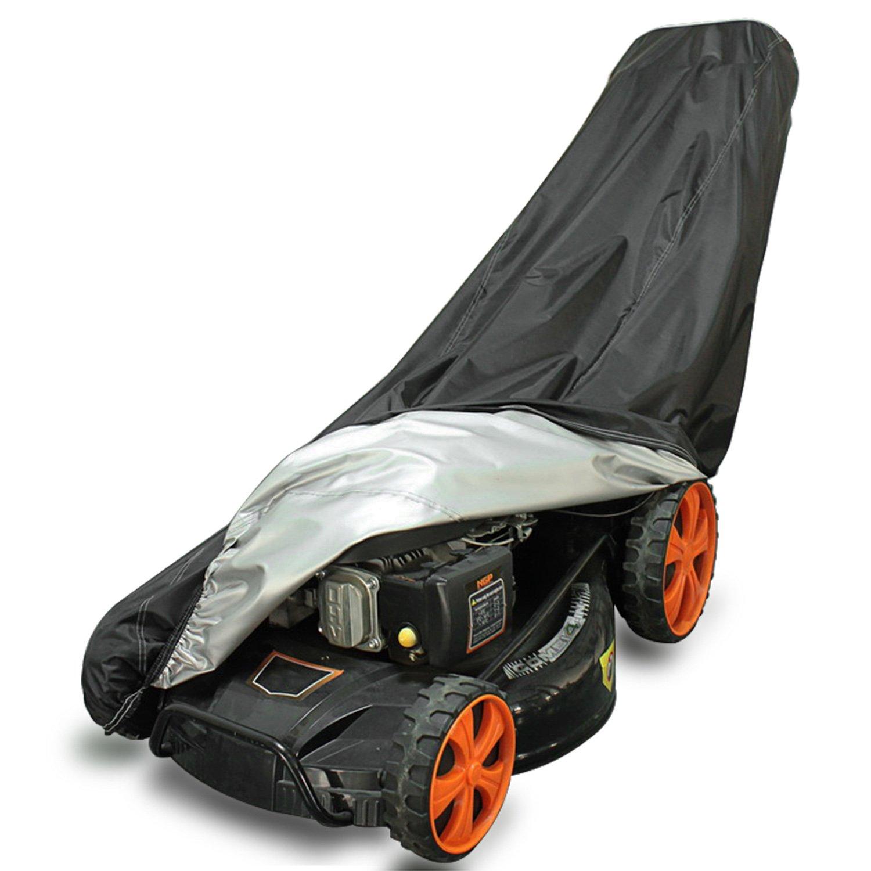 NOVSIGHT Housse de Protection pour Tondeuse à Gazon Etanche 200 * 40 * 85CM en 190T Polyester Noir/Argen Anti-UV