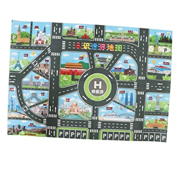Amazon Com Flameer World Map Road Traffic System Playmat Activity