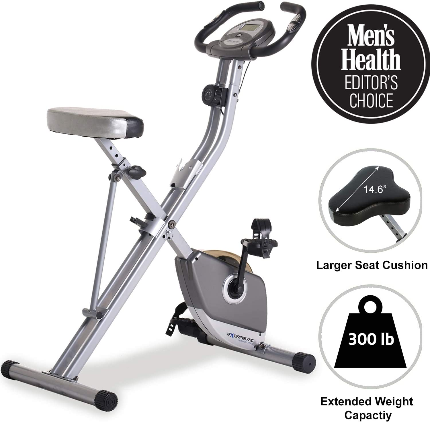 best exercise bike to lose weight: Exerpeutic Folding Magnetic Upright Exercise Bike