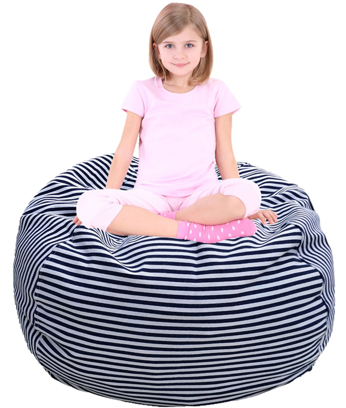 "Stuffed Animal Storage Bean Bag Chair | Extra Long Zipper Stuffed Storage Bag | Kids Bean Bag | Stuffed Animal Storage Bag | Premium Corduroy Pink - 30"" EDCMaker"