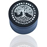 Grind-A-Tree 4 Piece Premium Herb Spice All Purpose Grinder With Pollen Catcher Black Anodized Aluminum