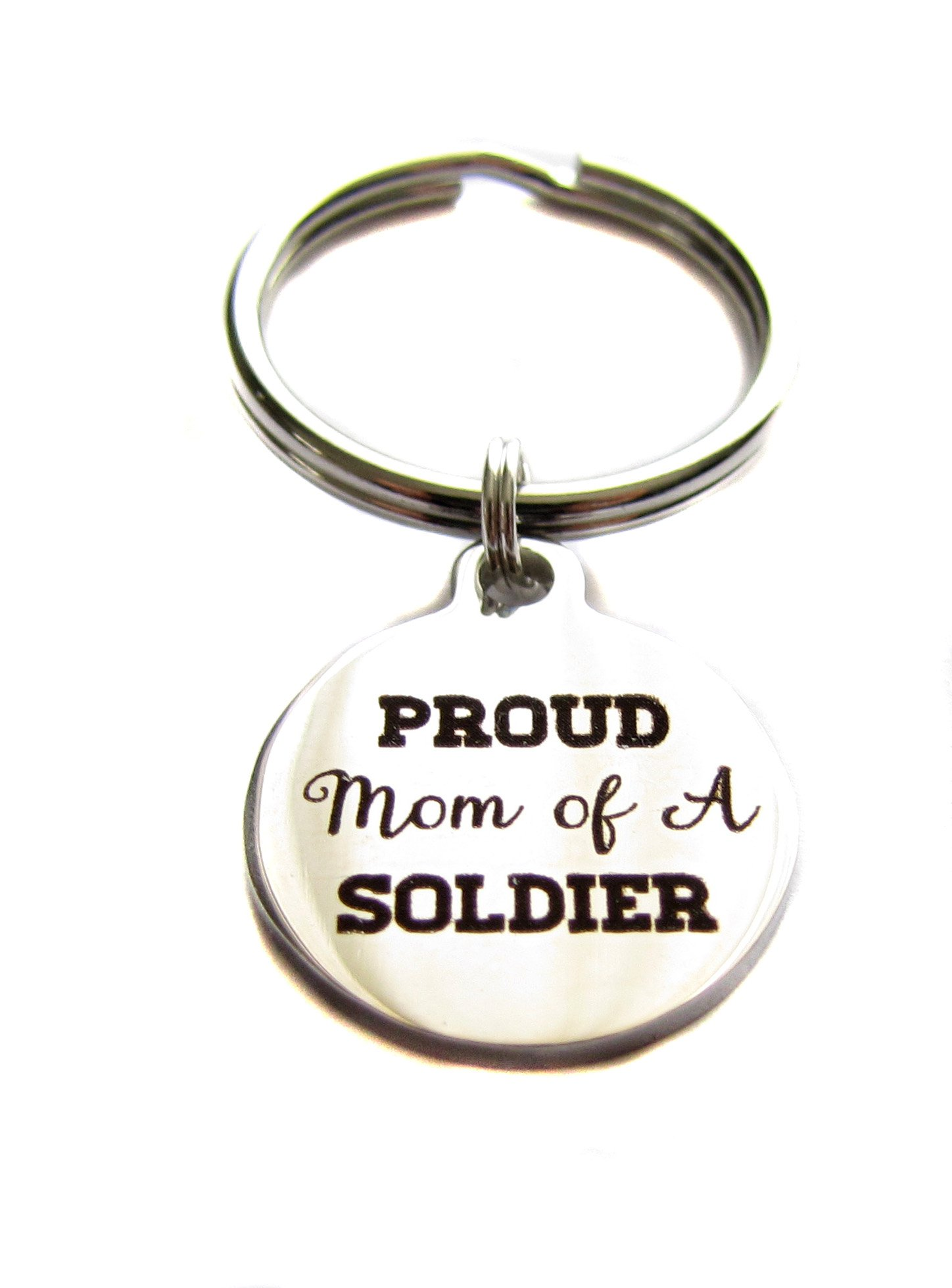 Heart Projects Stainless Steel Proud Mom Of A Soldier Charm Keychain, Bag Charm, Military Mom Gift