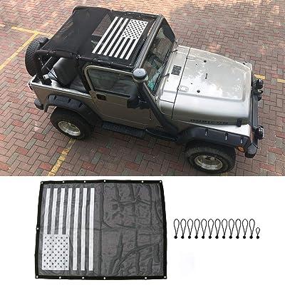 BESTAOO Jeep Wrangler TJ Polyester Full Mesh Sun Shade Top Cover Provides for TJ Wrangler 1997-2006 - USA Flag: Automotive