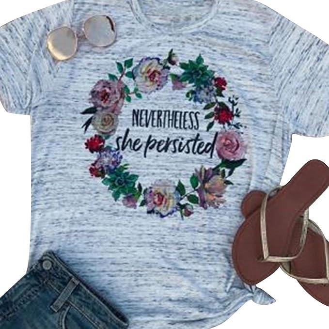 Las Camisetas Estampadas del Anillo Floral de Las Mujeres sin Embargo Ella persistió Las Camisetas de Manga Corta: Amazon.es: Ropa y accesorios