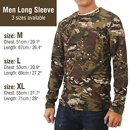 25a8195c Vbestlife Men's Long Sleeve Camo T Shirts Cool Camo Hunting t Shirts for  Men Casual Fitness Polyester Stretch Shirts Pocket Round Collar Tee T-Shirt  M, L, ...