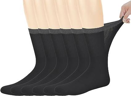 Yomandamor Best Mens Bamboo Mid-Calf Diabetic Socks With Seamless Toe,6 Pairs...